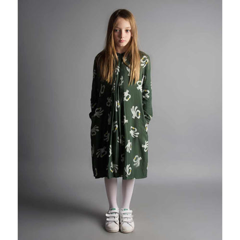 Girl wearing Bobo Choses Green Hand Trick Princess Dress - Yellow Lolly