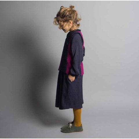 Girl wearing Bobo Choses Navy Constellation Princess Dress - Yellow Lolly