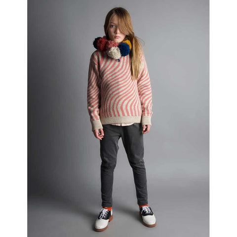 Girl wearing Bobo Choses Pink Hypnotized Knitted Jumper - Yellow Lolly