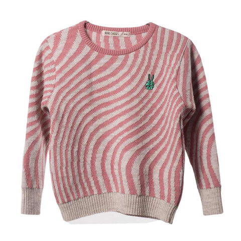 Bobo Choses Pink Hypnotized Knitted Jumper - Yellow Lolly