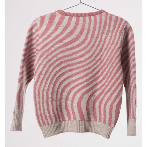 Back of Bobo Choses Pink Hypnotized Knitted Jumper - Yellow Lolly