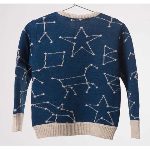 Back of Bobo Choses Blue Constellation Knitted Jumper - Yellow Lolly