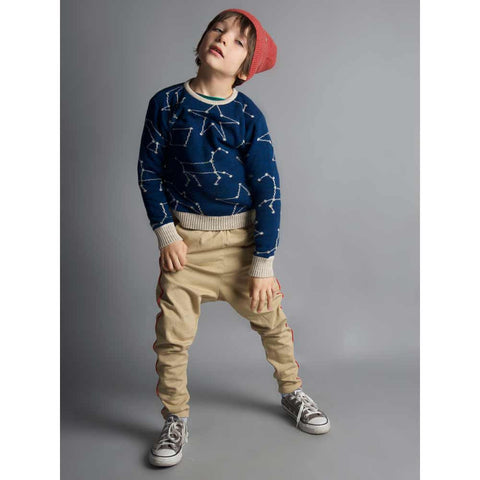 Child wearing Bobo Choses Blue Constellation Knitted Jumper - Yellow Lolly