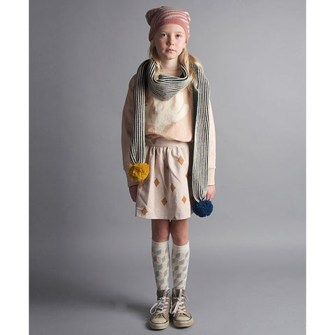 Girl Wearing Bobo Choses Green Wool Mix Ribbed Pom Pom Scarf