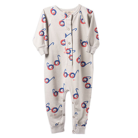 Bobo Choses Aw16 Grey Glasses Fleece Lined Jumpsuit at Yellow Lolly