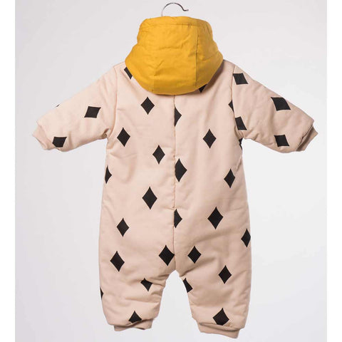 Back of pink and yellow Bobo Choses Diamond Sky Baby Overall - Yellow Lolly