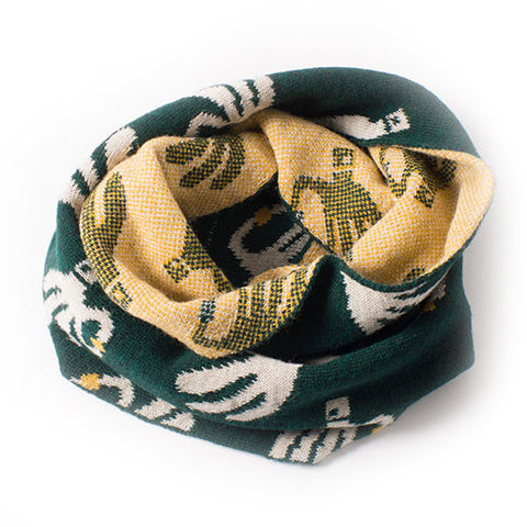 Bobo Choses Green Hand Trick Knitted Snood Scarf at Yellow Lolly