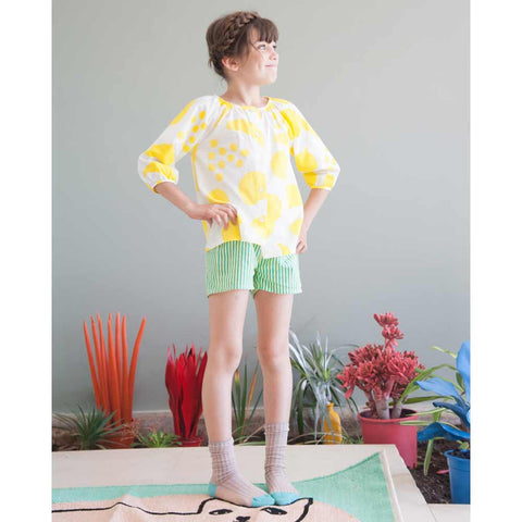 Girl Wearing Bobo Choses Yellow Big Fruits Cotton Blouse