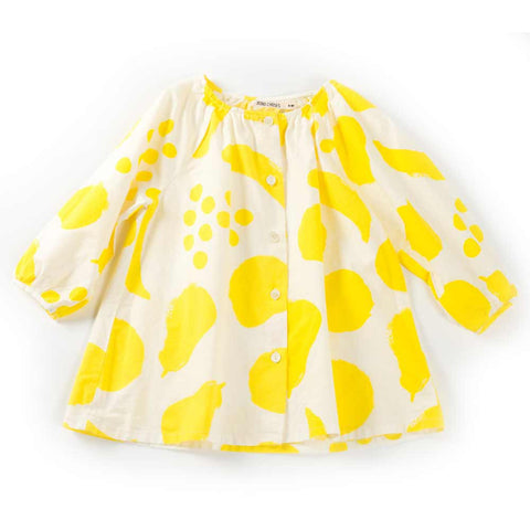 Bobo Choses Yellow Big Fruits Cotton Blouse - Front View