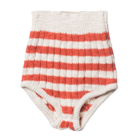 Bobo Choses Red Stripe Knitted Baby Culottes - Yellow Lolly