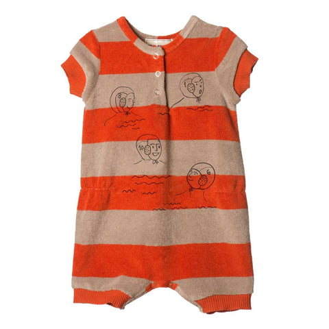 Bobo Choses Red Stripe Terry Baby Jumpsuit - Yellow Lolly