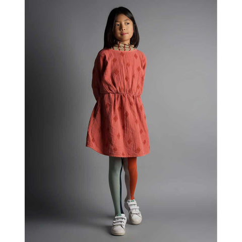Girl wearing Bobo Choses Diamond Sky Cheesecloth T Shape Dress - Yellow Lolly
