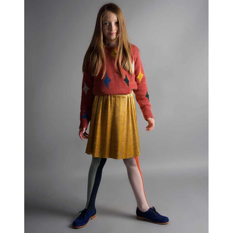 Girl wearing Bobo Choses Magic Powers Knitted Jumper - Yellow Lolly
