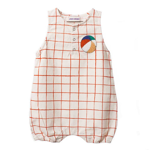 Bobo Choses Cream Net Team Baby Romper - Yellow Lolly