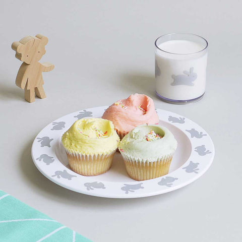 Buddy and Bear Happy Grey Bunny Tumbler with Cupcake