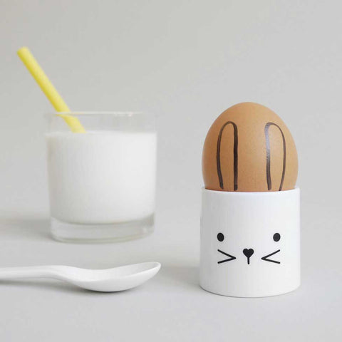Buddy and Bear Bunny Face Egg Cup - Yellow Lolly