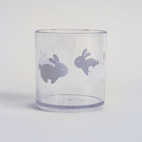 Buddy and Bear Happy Grey Bunny Tumbler - Clear Detail