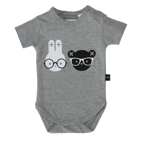 Huxbaby Grey Nerd Twins Baby Body - Yellow Lolly