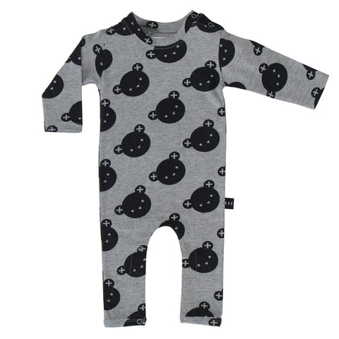 Huxbaby Grey Angle Bear Romper - Yellow Lolly