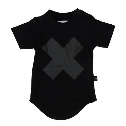 Huxbaby Black Cross Short Sleeve T-Shirt - Yellow Lolly