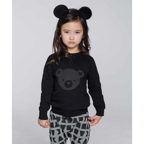 Girl Wearing HuxBaby Black Hux Bear Fleece Sweatshirt