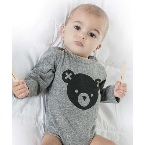Baby Wearing HuxBaby Grey Hux Bear Baby Body