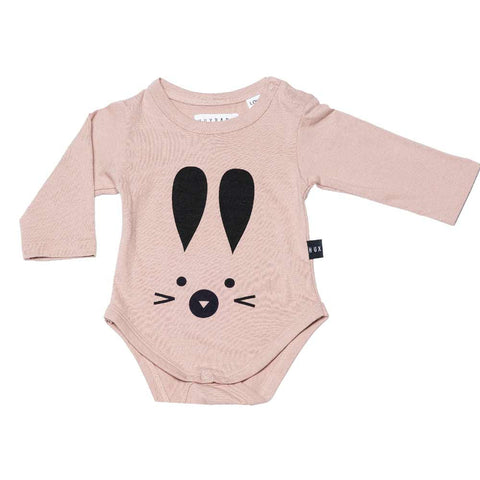 HuxBaby Dusky Pink Bunny Baby Body at Yellow Lolly