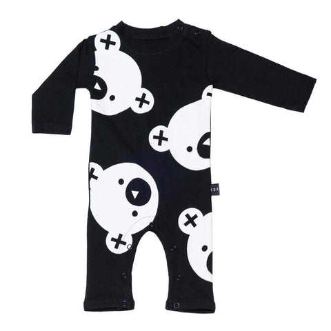 HuxBaby Black Falling Bears Baby Romper at Yellow Lolly
