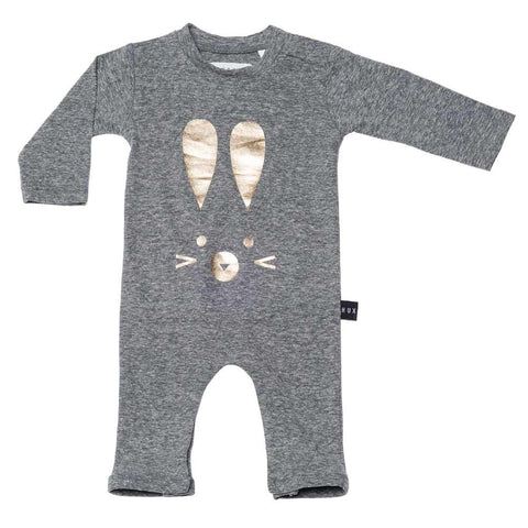 HuxBaby Grey Romper with Gold Bunny at Yellow Lolly