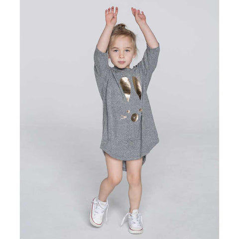 Girl Wearing HuxBaby Grey Hux Bunny Drop Back Dress