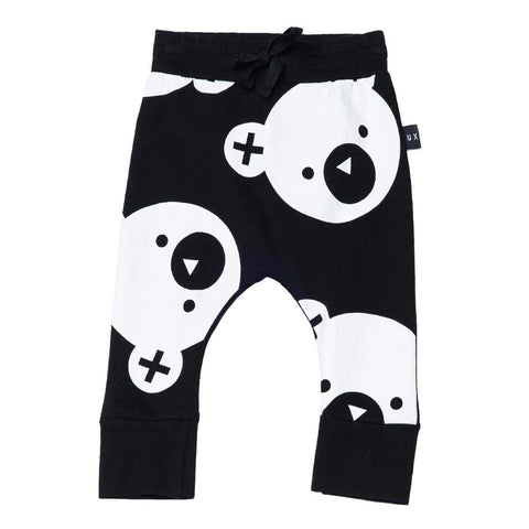 HuxBaby UK Black Big Falling Bears Drop Crotch Pants