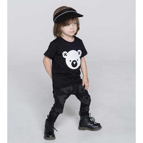 Boy Wearing HuxBaby Black Falling Bears Skinny Leggings