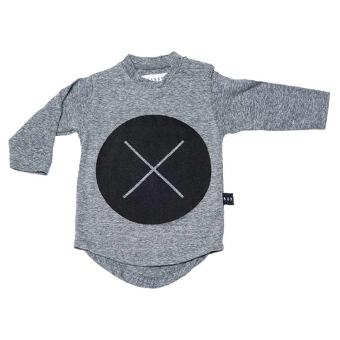 HuxBaby Grey Circle Cross Long Sleeved T at Yellow Lolly