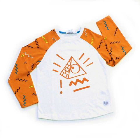 Indikidual Sol Pyramid Orange Raglan Chilld'sT-Shirt from Yellow Lolly