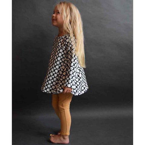Girl wearing Jax & Hedley Cream Mountain Print Dress - Yellow Lolly