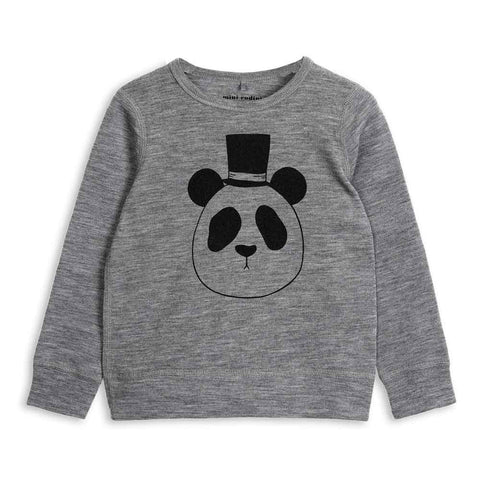 Mini Rodini AW16 Grey Panda Wool Top at Yellow Lolly