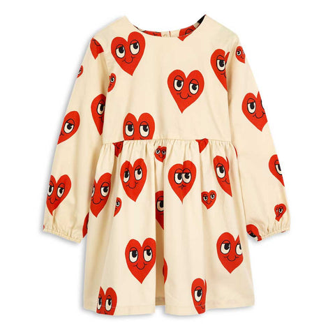 Mini Rodini AW16 Off White Hearts Cotton Dress