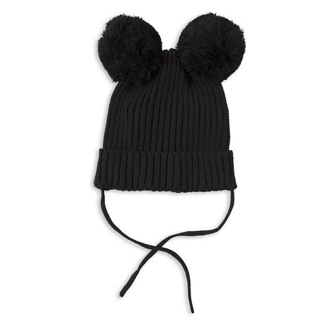 Mini Rodini AW16 Black Pom Pom Ears Knitted Hat