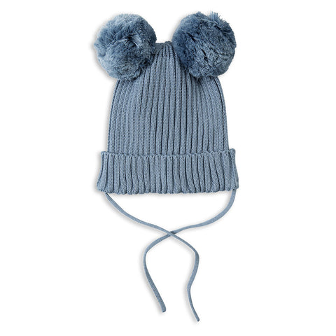 Mini Rodini Blue Pom Pom Ears Knitted Hat at Yellow Lolly