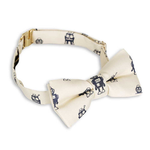 Mini Rodini Aw16 Off White Robots Bow Tie at Yellow Lolly