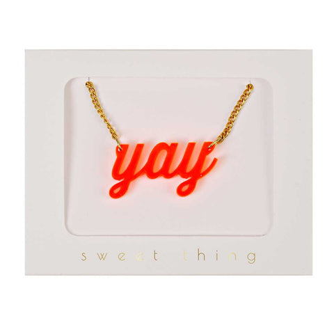 Meri Meri Orange Yay Necklace - Yellow Lolly