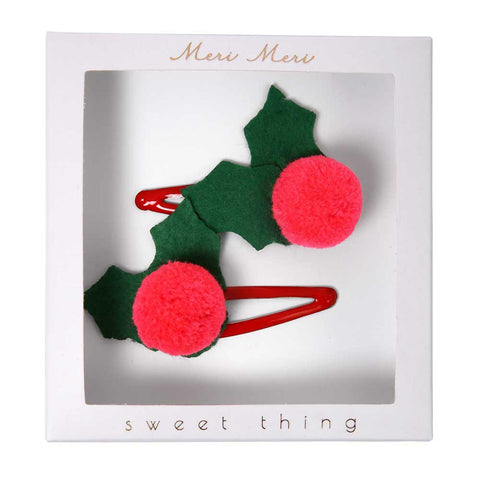 Meri Meri Holly Pom Pom Felt Hair Clips - Yellow Lolly