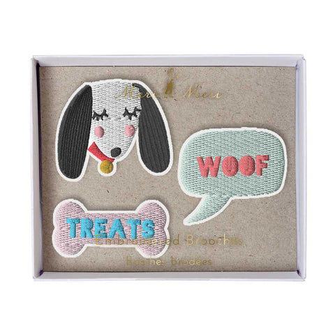 Meri Meri Dog Embroidered Brooches at Yellow Lolly