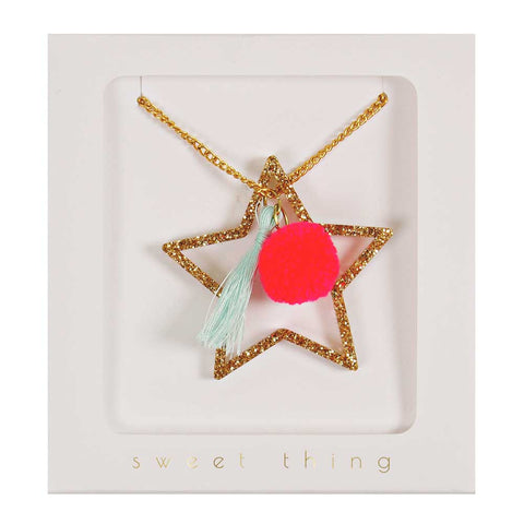 Meri Meri Gold Star Necklace - Yellow Lolly