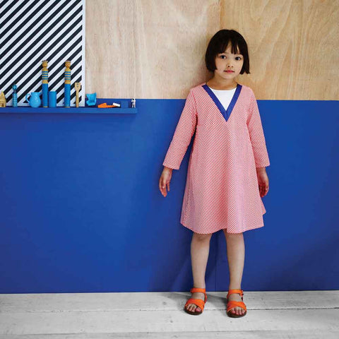 Girl Wearing Milk & Biscuits Diagonal Stripe A-Line Dress