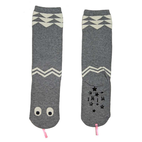 Mini Dressing Grey Snake Knee Socks showing sole - Yellow Lolly