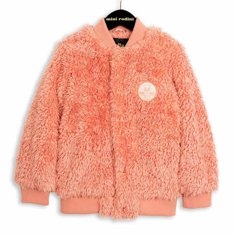 Mini Rodini AW16 Pale Coral Shaggy Baseball Jacket at Yellow Lolly