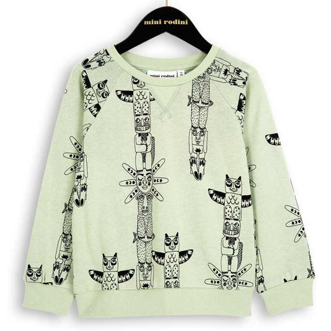 Mini Rodini AW16 Pale Green Totem Sweatshirt at Yellow Lolly