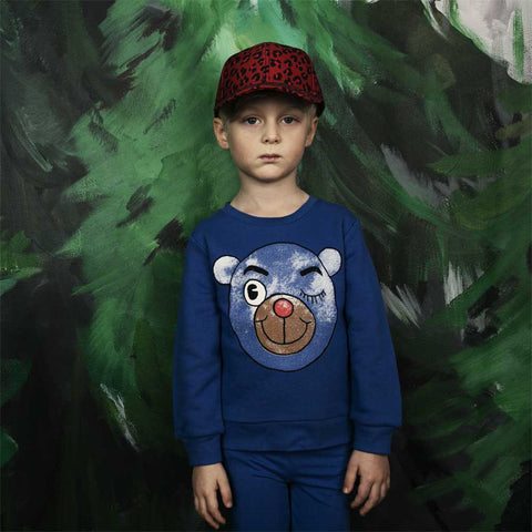 Boy Wearing Mini Rodini Blue Winking Bear Sweatshirt