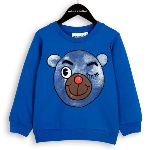 Mini Rodini AW16 Blue Winking Bear Sweatshirt at Yellow Lolly